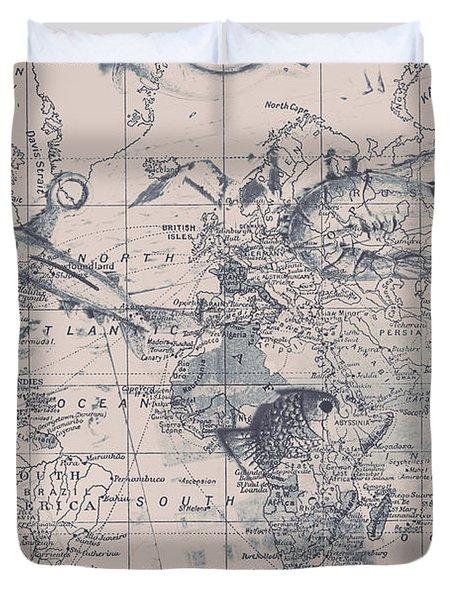 A Fishermans Map Duvet Cover