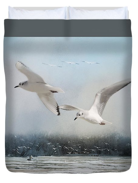 A Fishin' On The River Duvet Cover