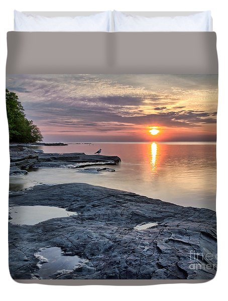 A Flat Rock Sunset With Seagull Duvet Cover
