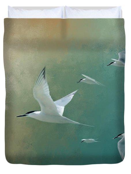 A Flight Of Terns Duvet Cover