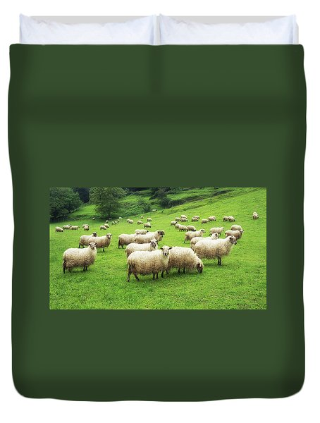 A Flock Of Sheep Duvet Cover