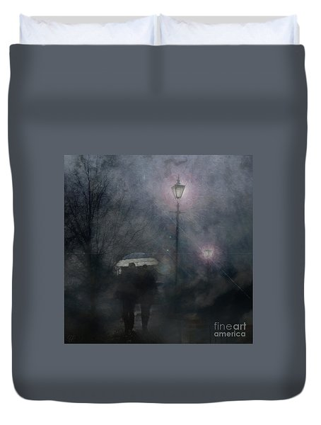 A Foggy Night Romance Duvet Cover