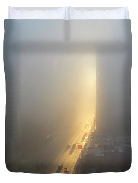 A Foggy Start To The Day In Vancouver Duvet Cover