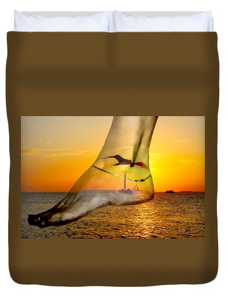 A Foot In The Sunset Duvet Cover