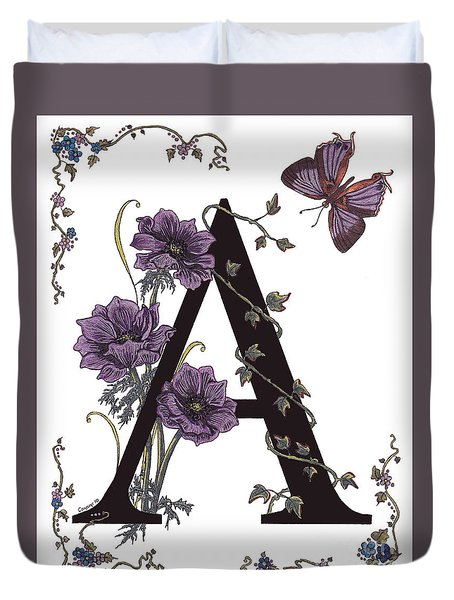 A For Anemone And Azure Streak Butterfly Duvet Cover by Stanza Widen