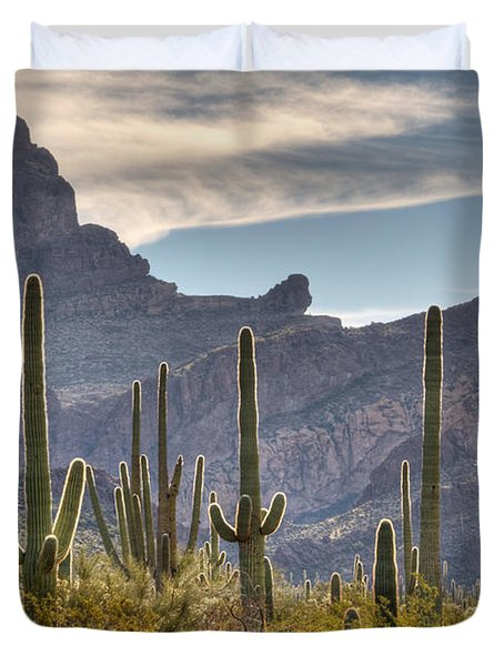 A Forest Of Saguaro Cacti Duvet Cover