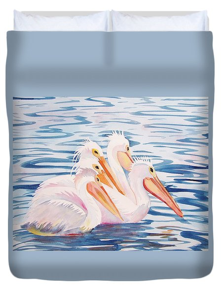 Duvet Cover featuring the painting A Foursome by Martha Ayotte