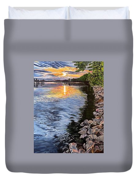 A Fraser River Sunset Duvet Cover