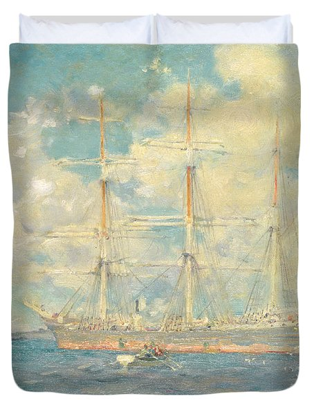 A French Barque In Falmouth Bay Duvet Cover