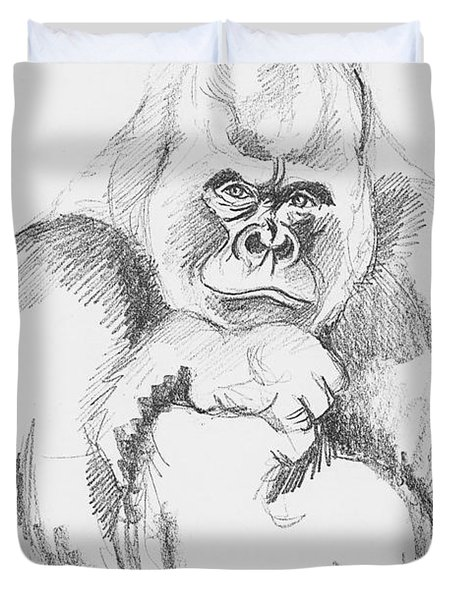 A Friendly Gorilla Duvet Cover by John Keaton
