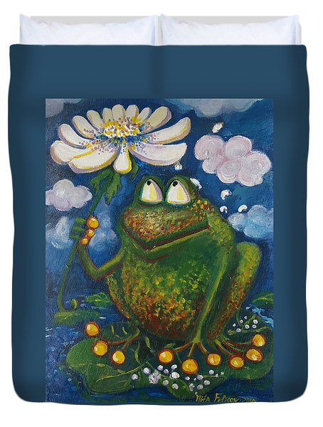 Frog In The Rain Duvet Cover by Rita Fetisov