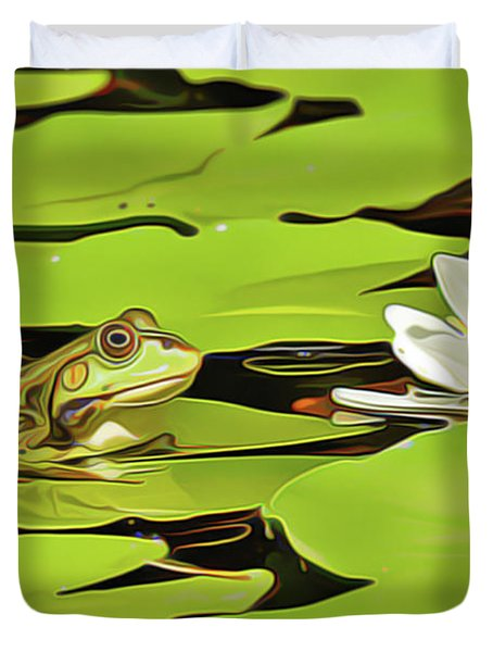 A Frog's Peace Duvet Cover