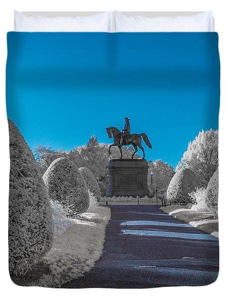 A Frosted Boston Public Garden Duvet Cover