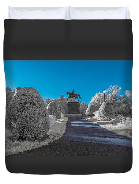 A Frosted Boston Public Garden Duvet Cover