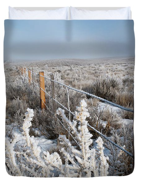 A Frosty And Foggy Morning On The Way To Steamboat Springs Duvet Cover