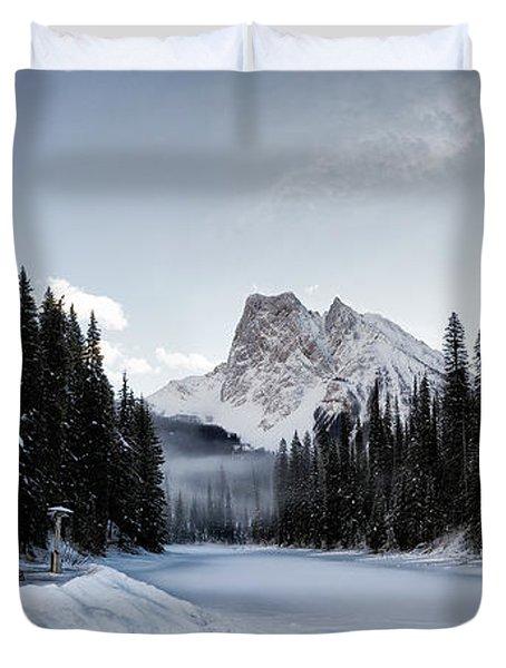 A Frozen Emerald Lake Morning Duvet Cover