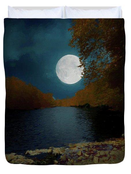A Full Moon On A River. Duvet Cover