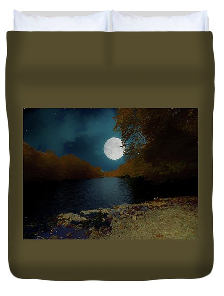 A Full Moon On A River. Duvet Cover