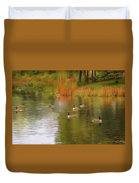 A Gaggle Of Geese Duvet Cover