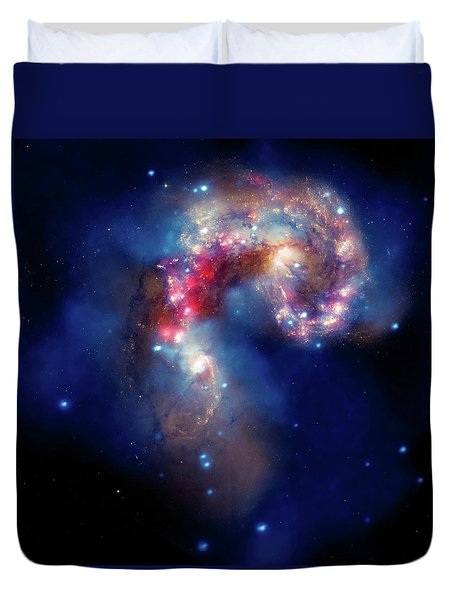 Duvet Cover featuring the photograph A Galactic Spectacle by Marco Oliveira