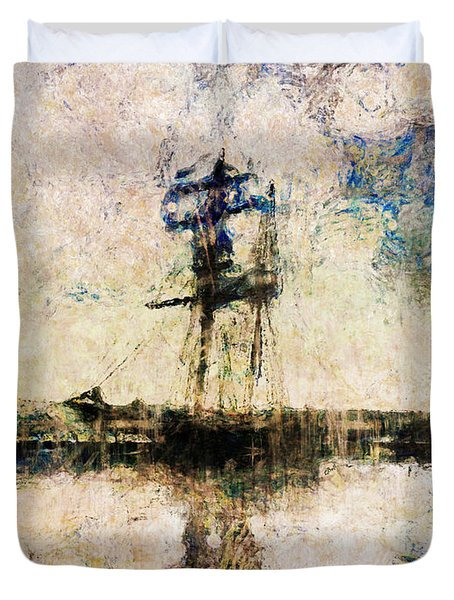 Duvet Cover featuring the photograph A Gallant Ship by Claire Bull