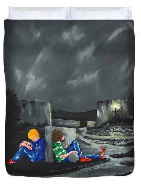 Duvet Cover featuring the painting A Game Of Two Divides by Scott Wilmot