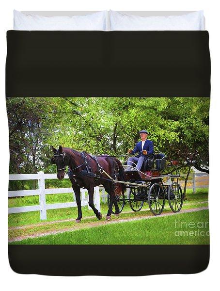 A Gentleman's Sunday Ride Duvet Cover