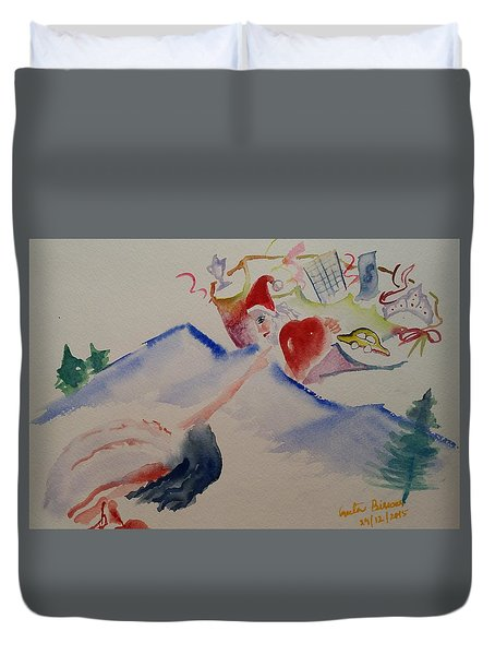 Duvet Cover featuring the painting A Gift For The Angel by Geeta Biswas