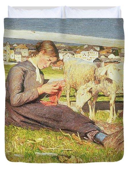 A Girl Knitting Duvet Cover by Giovanni Segantini