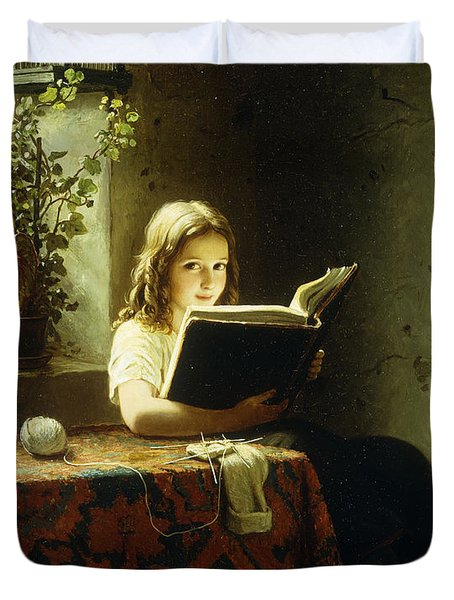 A Girl Reading Duvet Cover