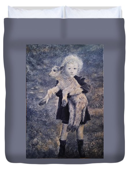 A Girl With A Lamb Duvet Cover