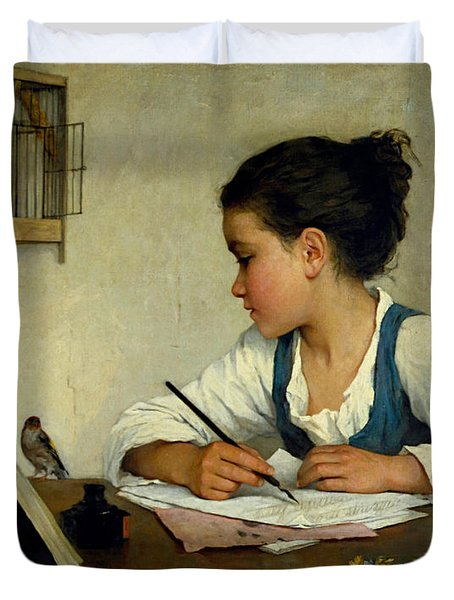 A Girl Writing. The Pet Goldfinch Duvet Cover