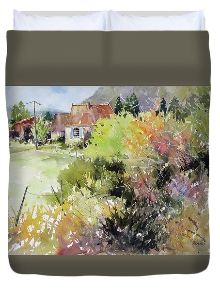 A Glimpse Beyond The Brambles, France.. Duvet Cover by Rae Andrews