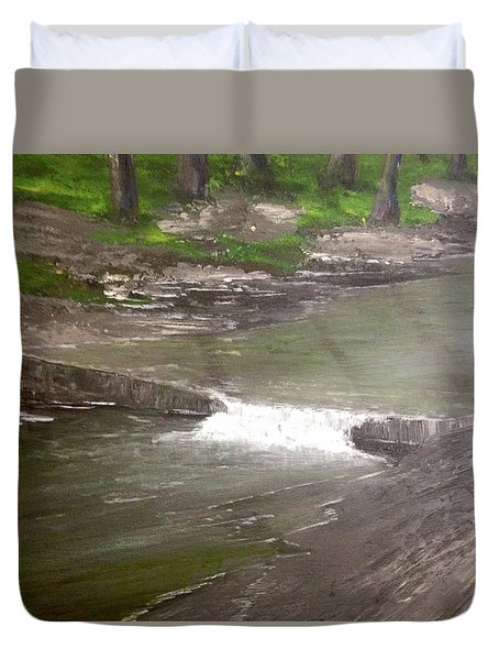 A Glimpse Of A Roadside Park Duvet Cover by T Fry-Green