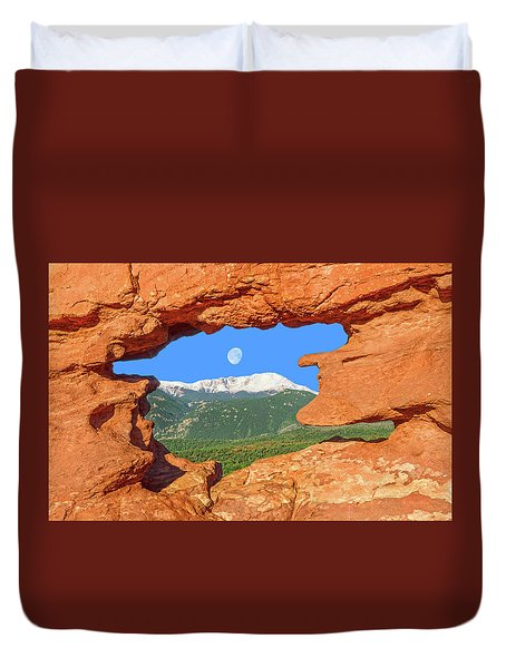 A Glimpse Of The Mighty Rockies Through A Rocky Window  Duvet Cover