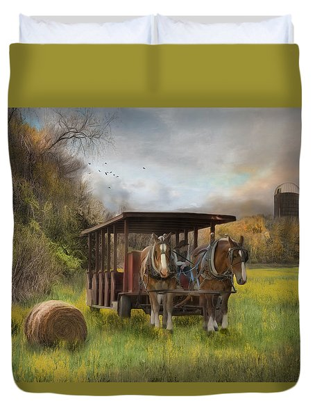 Duvet Cover featuring the photograph A Golden Day by Robin-Lee Vieira