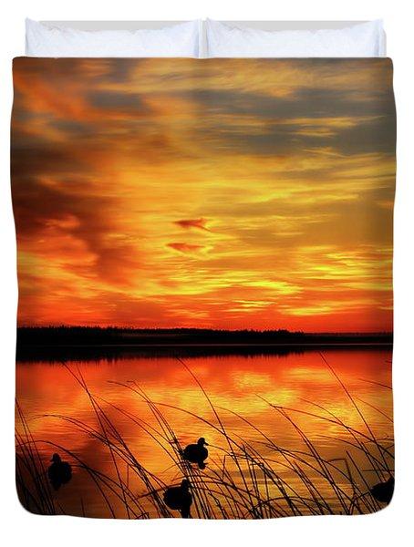 A Golden Sunrise Duck Hunt Duvet Cover