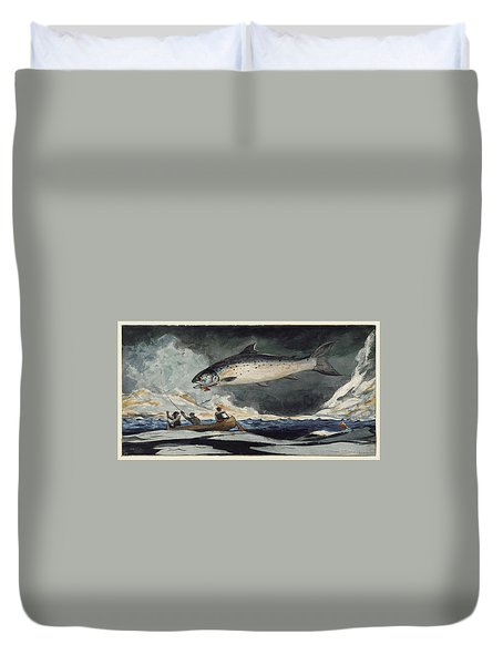 Duvet Cover featuring the painting A Good Pool. Saguenay River by Winslow Homer