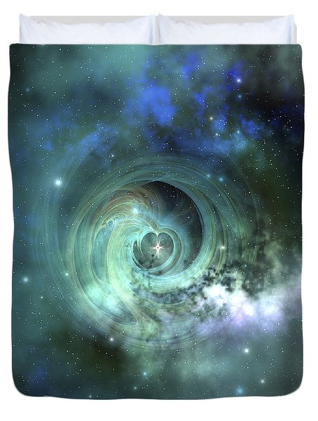 Duvet Cover featuring the digital art A Gorgeous Nebula In Outer Space by Corey Ford