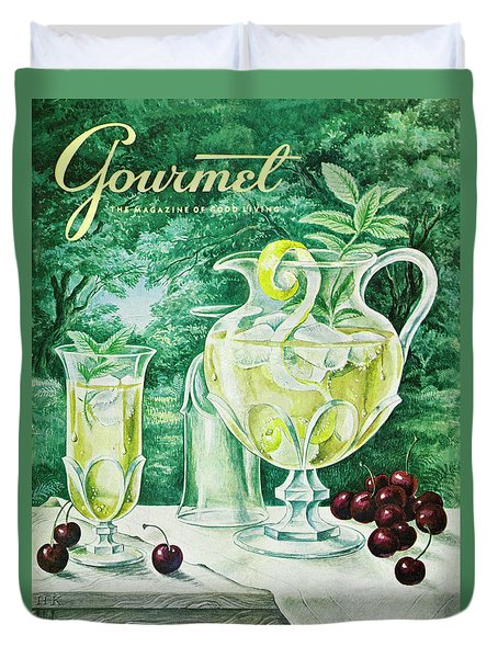 A Gourmet Cover Of Glassware Duvet Cover by Hilary Knight