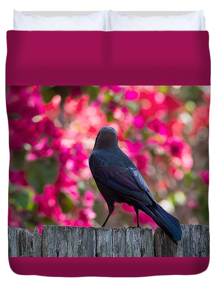 A Grackle Color Explosion Duvet Cover by Kenneth Albin
