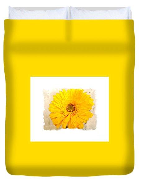 Duvet Cover featuring the photograph A Grand Yellow Gerber by Marsha Heiken