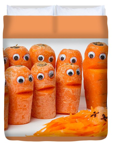 Duvet Cover featuring the photograph A Grate Carrot 2. by Gary Gillette