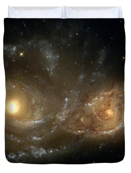 A Grazing Encounter Between Two Spiral Galaxies Duvet Cover