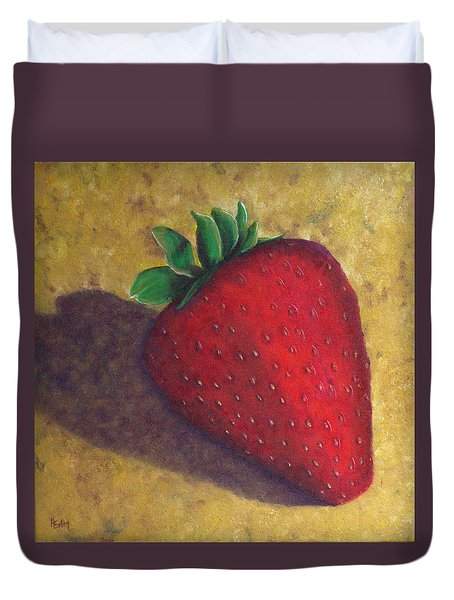 A Great Big Strawberry Duvet Cover by Helen Eaton