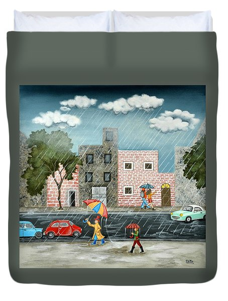 A Great Rainy Day Duvet Cover