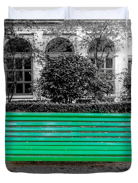A Green Bench In Madrid Duvet Cover