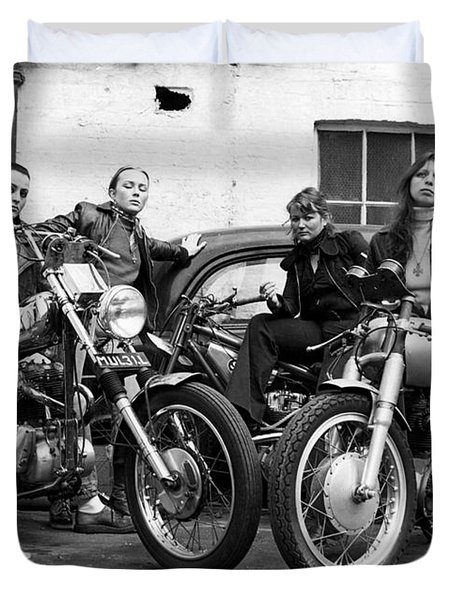 A Group Of Women Associated With The Hells Angels, 1973. Duvet Cover