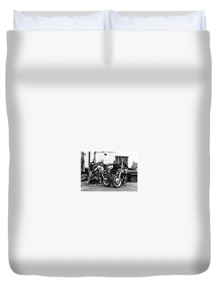 Duvet Cover featuring the photograph A Group Of Women Associated With The Hells Angels, 1973. by Lawrence Christopher