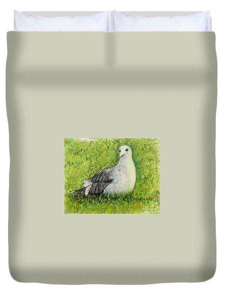 A Gull On The Grass Duvet Cover